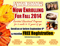 Fall Registration for Annas Bananas